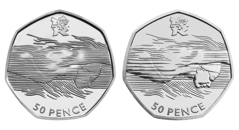 Swimmer Olympic 50p Coin, 2012