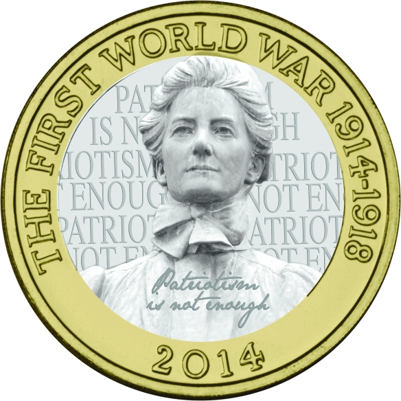 An artist's impression of what an Edith Cavell £2 coin might look like