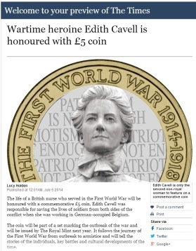 The Times have mistakenly believed our artist's impression to be the new Edith Cavell £5 coin