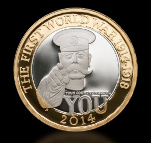 The new First World War £2 features Lord Kitchener's famous pose
