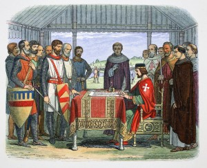 King John signs the Great Charter, Runnymede, Surrey, 1215 (1864).  Artist: James William Edmund Doyle