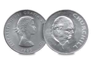 Churchill became the first non-Royal to be portrayed on a British coin following his death in 1965