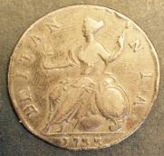 Britannia on a 1733 Halfpenny