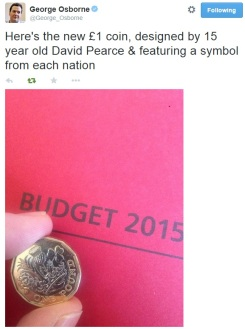 Osborne Tweet's a photo of the new £1 coin design