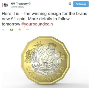 HM Treasury tweeted the new £1 coin design