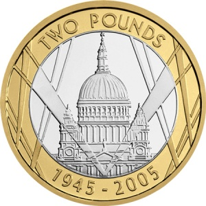 The VE Day 60th Anniversary £2 features St Paul's Cathedral on the reverse