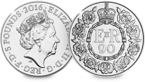 The 2016 £5 coin to commemorate the Queen's 90th birthday