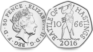 The new Battle of Hastings 50p features King Harold with an arrow in his eye - taken from the Bayeux tapestry