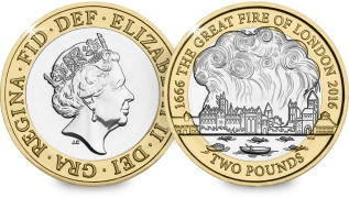 The Great Fire of London will feature on a new £2 coin next year