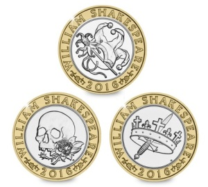 Three coins will be issued in 2016 to commemorate William Shakespeare