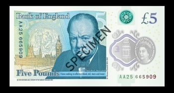 The New Sir Winston Churchill Polymer £5 Note
