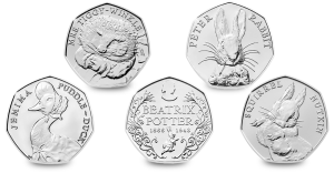 The Beatrix Potter 50p Series: Beatrix Potter, Peter Rabbit, Jemima Puddle-Duck, Mrs Tiggy-Winkle and Squirrel Nutkin