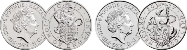 queens beasts updated png - Unprecedented release of bullion coin designs in base metal by Royal Mint